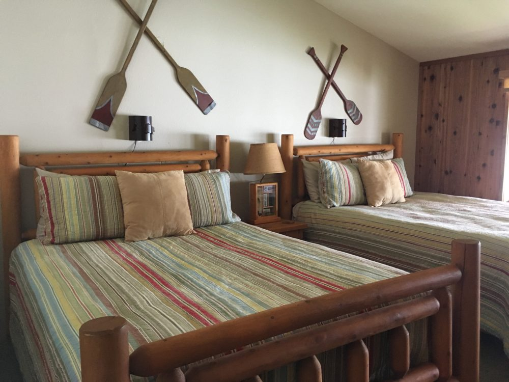 Double beds in waterfront suite at The Lodge at Whale Pass
