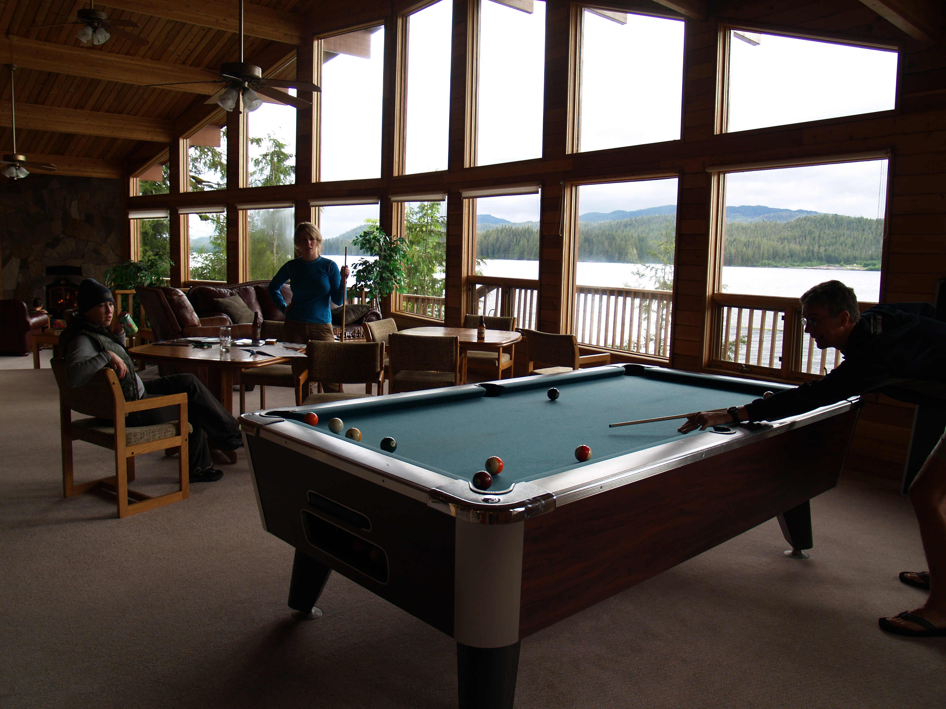 Pool table in bay window at The Lodge at Whale Pass