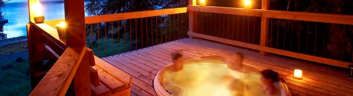 Relaxing in spa bay side at The Lodge at Whale Pass